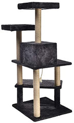 Multi Platform Steps Cat Tree Tower - 24 x 22 x 51 Inches, Dark Grey - Mia's Pet Supply