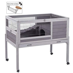 Rabbit Hutch  on Wheels Guinea Pig Cage - Mia's Pet Supply