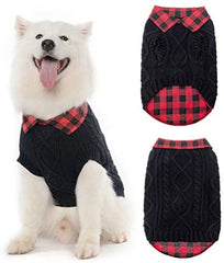 Plaid Patchwork Pet Doggy Knitted Sweaters Comfortable Coats for Cold Weather - Mia's Pet Supply
