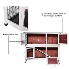 Lovupet 2 Story Outdoor Wooden Rabbit Hutch Chicken Coop - Mia's Pet Supply