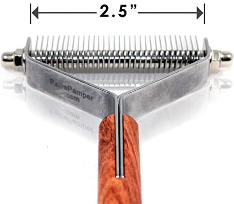 PawsPamper Extra Wide Undercoat Rake for Medium to Large Dogs, Cats - 32 Blade: