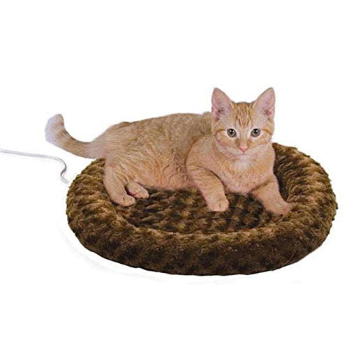 ": K&H Pet Products Thermo-Kitty Fashion Splash Heated Pet Bed Mocha 18"" 4W : - Mia's Pet Supply"
