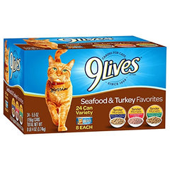 : 9 Lives Turkey & Seafood Favorites Wet Cat Food Variety - Mia's Pet Supply