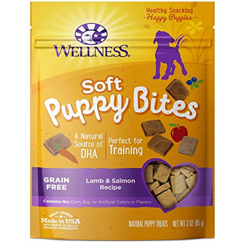 : Wellness Soft Puppy Bites Natural Grain Free Puppy Training Treats, Lamb & Salmon, - Mia's Pet Supply