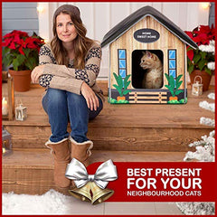 PETYELLA Outdoor Cat House Feral Cat Shelter - Mia's Pet Supply