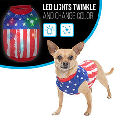 : American Flag Dog Sweater with Blinking Lights - Mia's Pet Supply