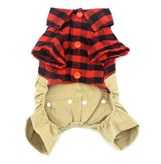 :  Pet  sweater with Khaki Overalls Pants - Mia's Pet Supply