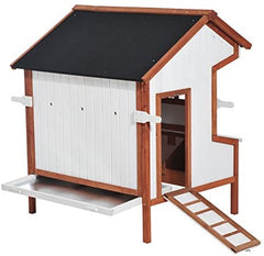 "PawHut 43"" Raised Portable Backyard Wooden Cottage Chicken Coop - Mia's Pet Supply"