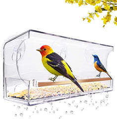 LUJII Window Bird Feeder with Strong Suction Cups and Slid Seed Tray, - Mia's Pet Supply