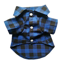 Cozy Casual Blue and Black Plaid Dog Cat Shirt - Mia's Pet Supply