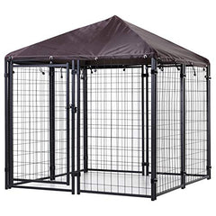 PawHut Lockable Dog House Kennel with Water-Resistant Roof for Small and Medium Sized Pets, 4.6' x 4.6' x 5' - Mia's Pet Supply