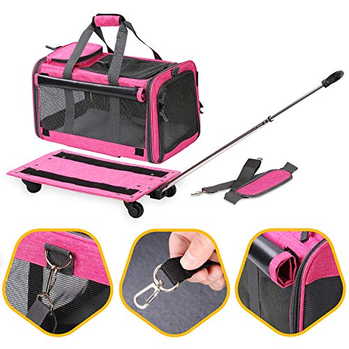 : KOPEKS Pet Carrier with Detachable Wheels for Small and Medium Dogs & Cats - Mia's Pet Supply