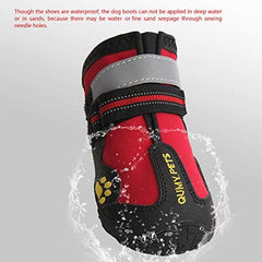 QUMY Dog Boots Waterproof Shoes with Reflective Velcro Rugged Anti-Slip - Mia's Pet Supply