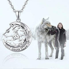 TRISHULA Wolf Pendant Necklace Jewelry, Sterling Silver I Never Give Up Necklace - Mia's Pet Supply