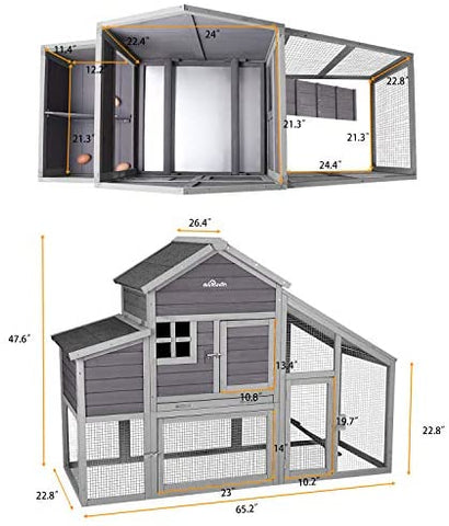 ": Aivituvin Chicken Coop 65"" Wooden Hen House with Large Nesting Box - Mia's Pet Supply"