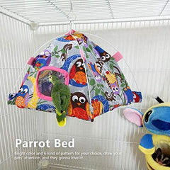 HEEPDD Bird Hammock, Cartoon Parrot Hanging Tent with Coral Mat Cage Decor for Pet - Mia's Pet Supply