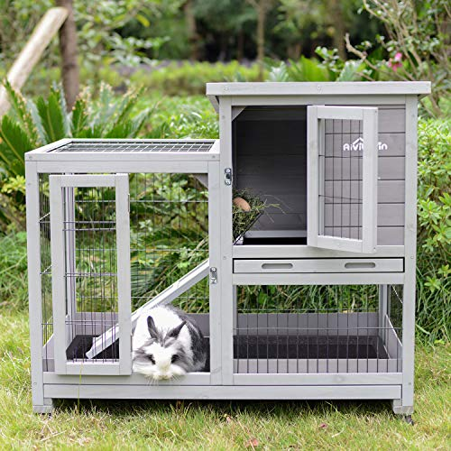 : Aivituvin  Indoor and Outdoor Rabbit Hutch Wood House - Mia's Pet Supply