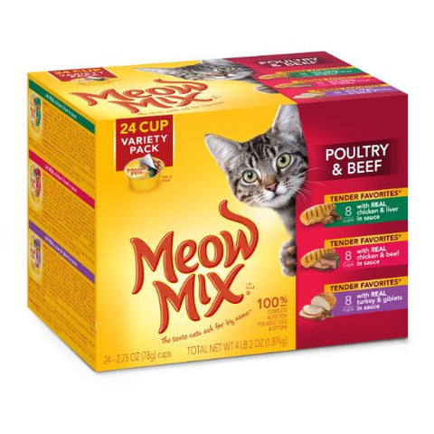 : Meow Mix Tender Favorites Poultry And Beef Variety Pack Wet Cat Food - Mia's Pet Supply