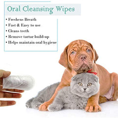 GARYOB Pet Dental Fingers Wipes, Oral Cleansing Teeth Wipes Pads for Dogs and Cats - Mia's Pet Supply