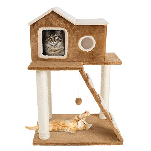 3 Tier Cat Tree- Plush Multilevel Cat Tower with Scratching Posts - Mia's Pet Supply