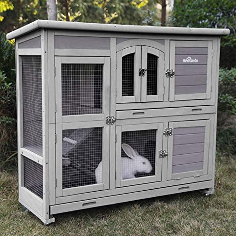 "Aivituvin 47"" Two Story Rabbit Hutch Bunny Cage with Wheels, - Mia's Pet Supply"