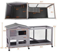 "62"" Rabbit Hutch Indoor and Outdoor Bunny Cage - Mia's Pet Supply"