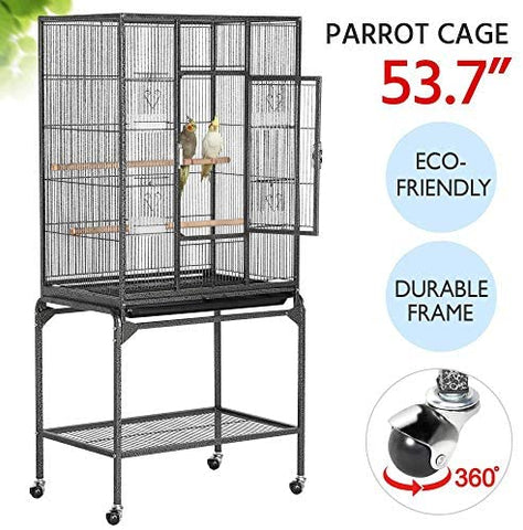 Yaheetech 54-inch Wrought Iron Standing Large Parrot Parakeet Flight Bird Cage - Mia's Pet Supply