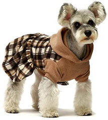 Fit warm Knitted Plaid Dog Dress Hoodie Sweatshirts Pet Clothes - Mia's Pet Supply