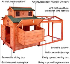 LAZY BUDDY Chicken Coop, 70 Wooden Chick Cage with 2 Hen Nesting Boxes - Mia's Pet Supply