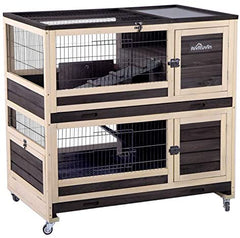 Aivituvin Rabbit Hutch Indoor and Outdoor Bunny Cage on Wheels - Mia's Pet Supply