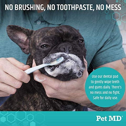 Pet MD Dog Breath Freshener Dental Wipes for Dogs
