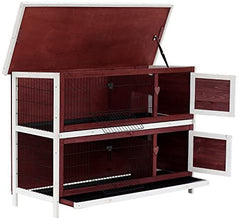 "PawHut 54"" 2-Story Weatherproof Stackable Elevated Wooden Rabbit Hutch - Mia's Pet Supply"