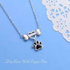 Sterling Silver Forever Love Heart Dog Bone - Mia's Pet Supply