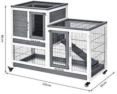 PawHut Wooden Indoor Rabbit Hutch Elevated Cage Habitat - Mia's Pet Supply