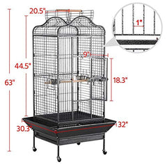 : Yaheetech Wrought Iron Rolling Extra Large Open Playtop Bird Cage - Mia's Pet Supply