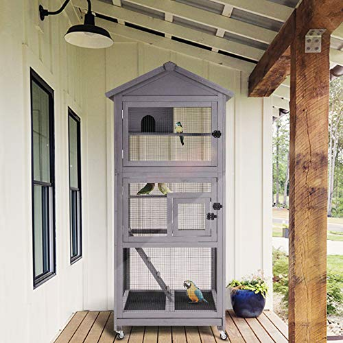Gutinneen Wood Bird Aviary on Wheels Outdoor and Indoor Flight Cage - Mia's Pet Supply