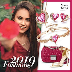 CDE Pink Angel Heart Jewelry Set Crystals Necklace Sets for Women - Mia's Pet Supply