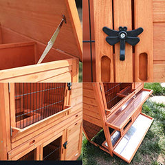 ": LAZY BUDDY Rabbit Hutch, 40"" Wooden Rabbit Cage - Mia's Pet Supply"