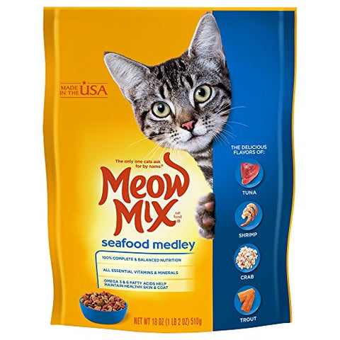 : Meow Mix Seafood Medley Dry Cat Food, 18 oz - Mia's Pet Supply