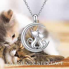 :  Sterling Silver Cute Hypoallergenic Double Cat Jewelry - Mia's Pet Supply