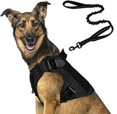 Tactical Dog Harness and Bungee Dog Leash Set for Large Medium Dogs - Mia's Pet Supply