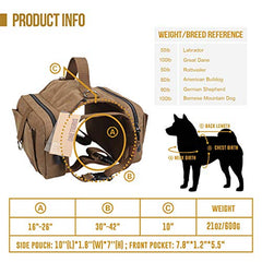 OneTigris Dog Pack Hound Travel Camping Hiking Backpack Saddle Bag - Mia's Pet Supply