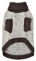 : Medium Turtleneck Dog Sweater Brown Paw Pattern : Pet Supplies - Mia's Pet Supply