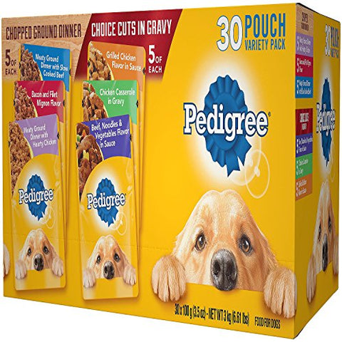 Pedigree Pouches 6 Flavor Variety Pack (30 ct.): - Mia's Pet Supply