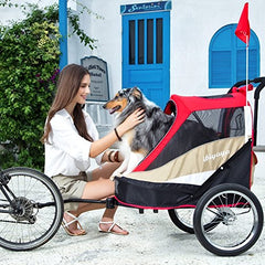 ibiyaya 2-in-1 Heavy Duty Dog Stroller/Pull Behind Bike Trailer - Mia's Pet Supply