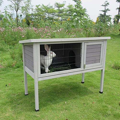 "Rabbit Hutch 48"" Wood House Pet Cage Indoor Outdoor 1-Story Small Animals - Mia's Pet Supply"