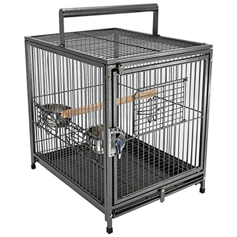 "PawHut 22"" Heavy Duty Wrought Iron Travel Bird Cage Carrier with Handle Perch and Accessories - Mia's Pet Supply"