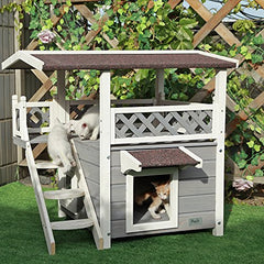 : Petsfit 2-Story Outdoor Weatherproof Cat House with Stairs, - Mia's Pet Supply