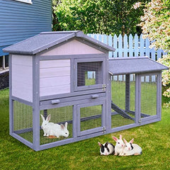 PawHut Large Outdoor Raised Painted Deluxe Wood Rabbit Hutch - Mia's Pet Supply