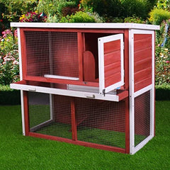 "Sandinrayli 36"" 2-Story Red Wooden Rabbit Wood Hutch Poultry Cage - Mia's Pet Supply"
